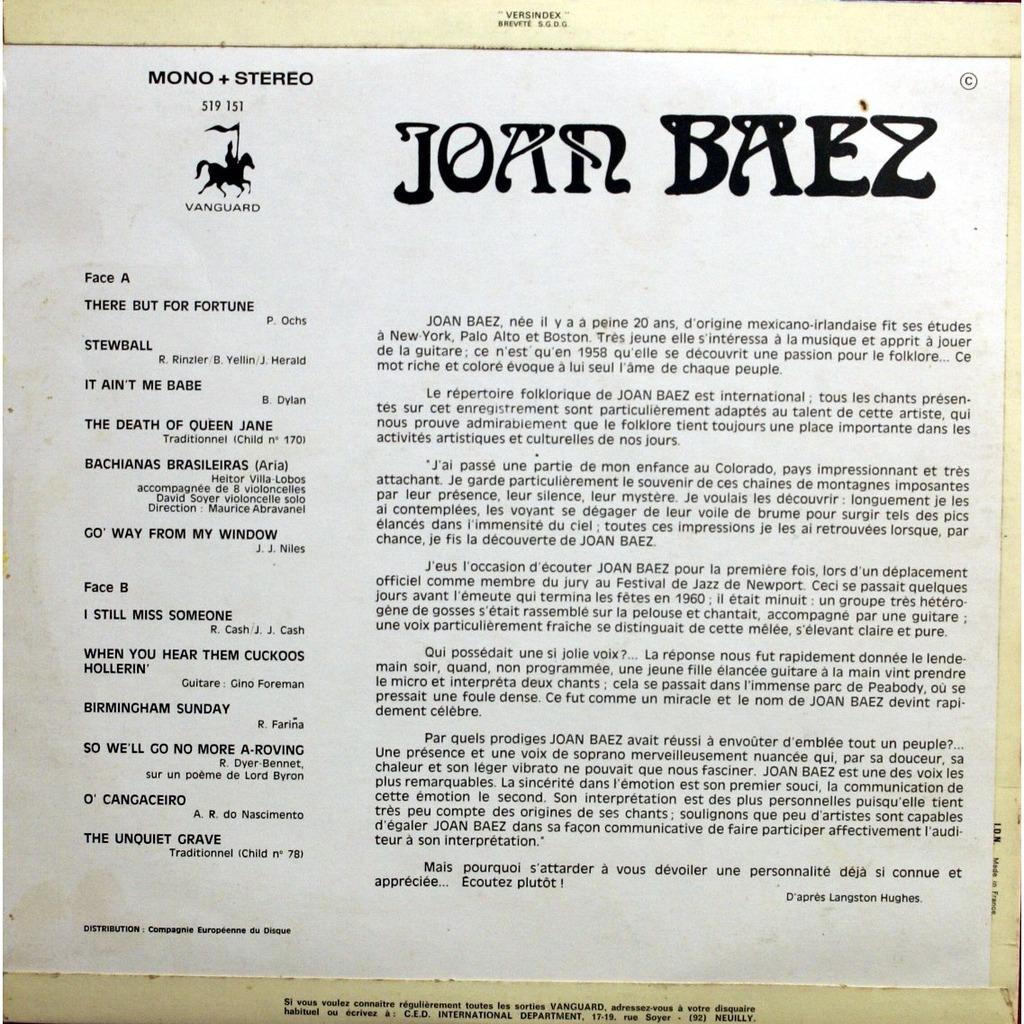 5 De Joan Baez 33 13 Rpm Con Vodkalva
