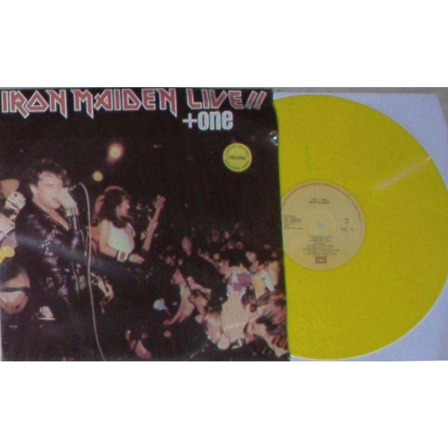 iron maiden Live!!+One (Greek 1984 Ltd re 9-trk LP YELLOW vinyl unique ps)