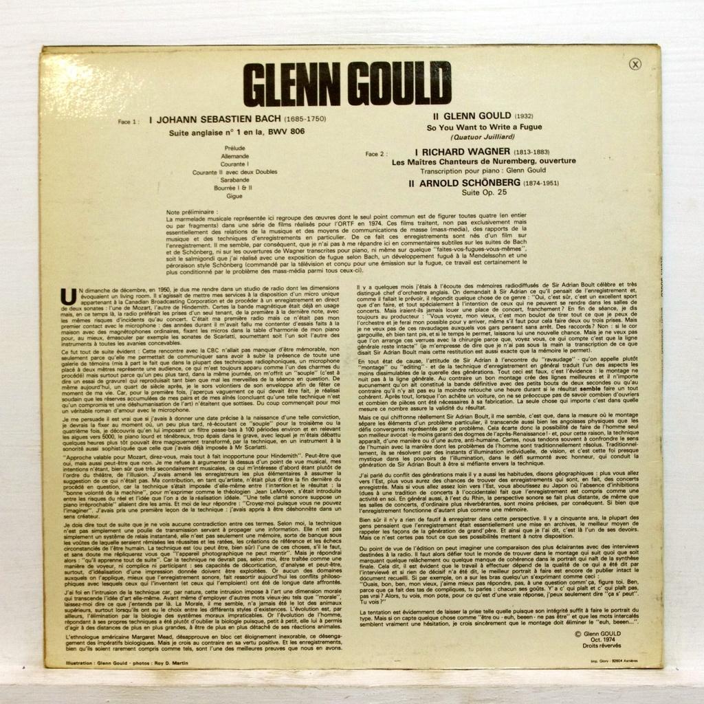 Glenn gould want to write a fugue