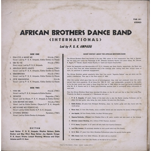 African Brothers Dance Band International Led By P S K