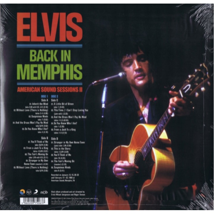 Back In Memphis 2 Lp 180 Grammes 29 Outtakes 1969 By