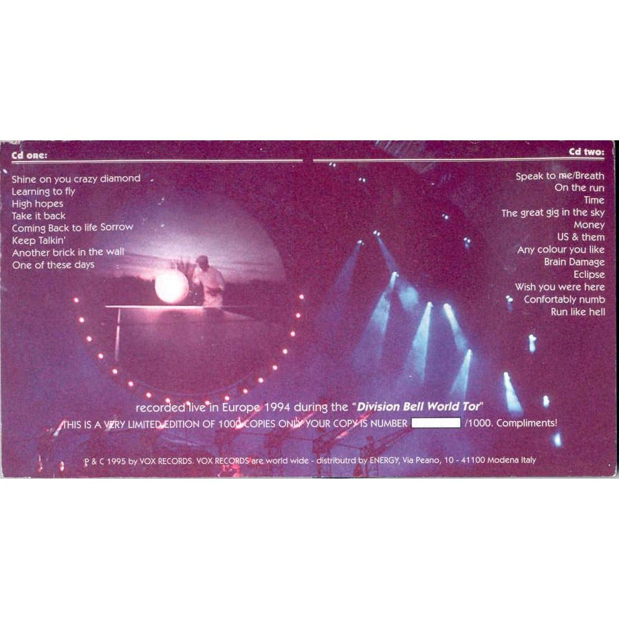 pink floyd Earl's Bells (Live in Europe 1994) (Ltd 1000 copies 1995 issue live 2CD on Vox Records lbl deluxe ps