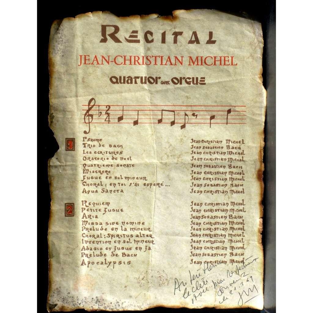Affiche Récital Jean-Christian Michel dédicacée Affiche Récital Jean-Christian Michel 33 x 24 dédicacée 1969