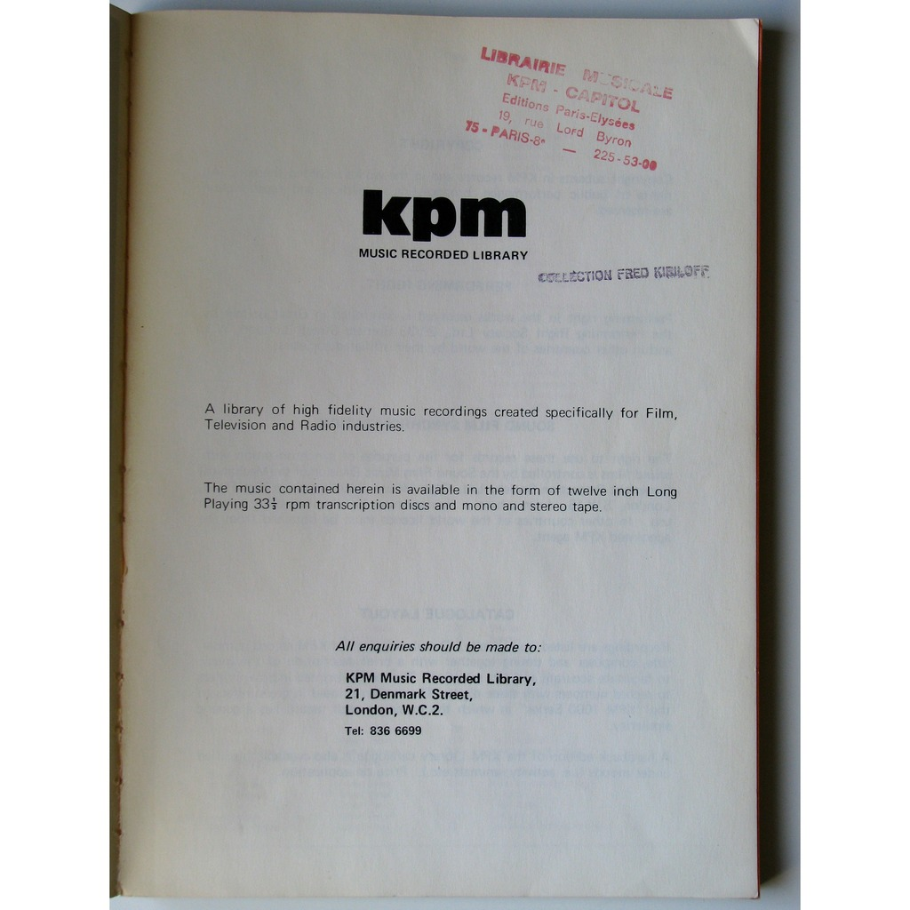 Complete catalogue  by Kpm Music Recorded Library, Book with filbeypop