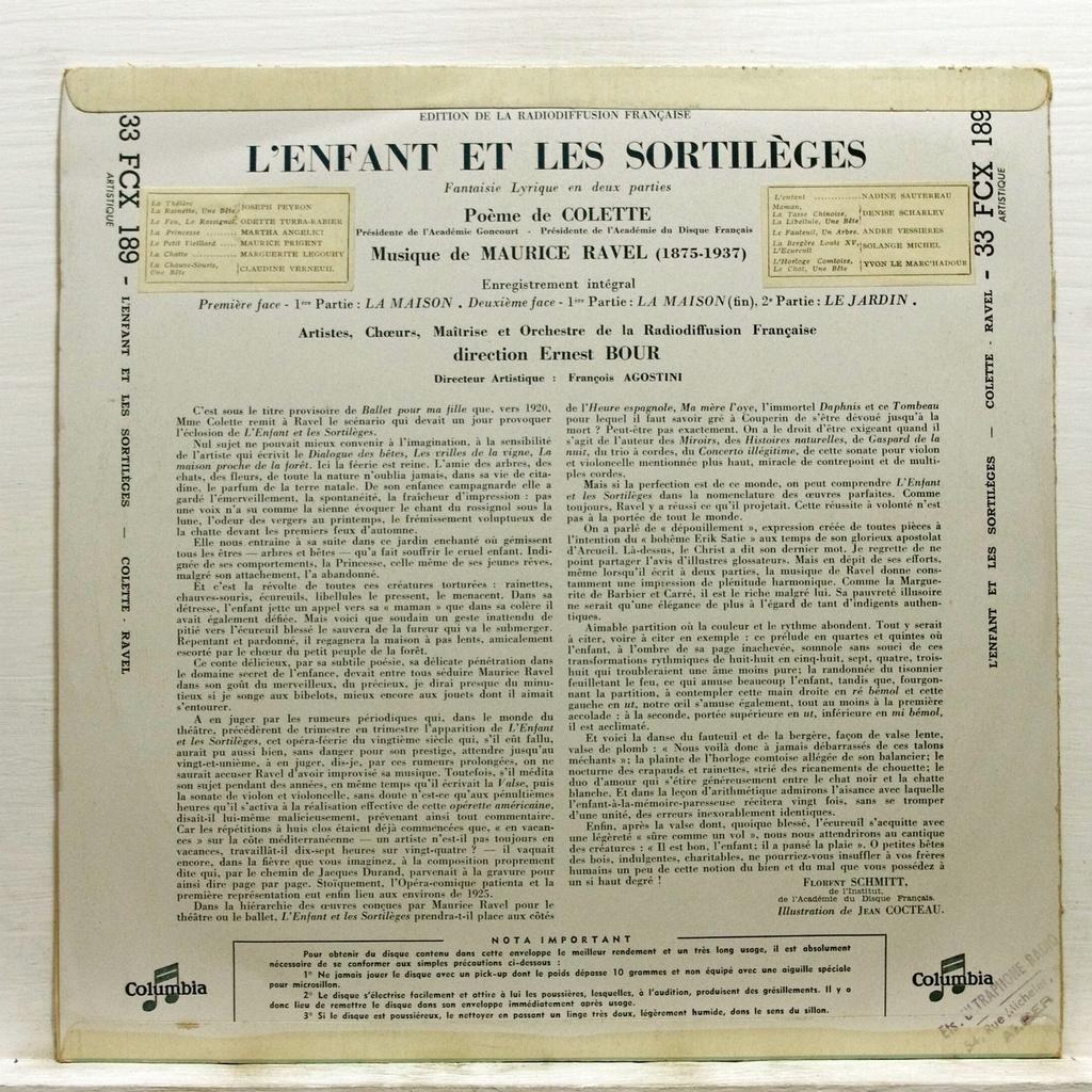 Ernest Bour Colette – Ravel L'enfant et les sortileges - Cocteau art cover