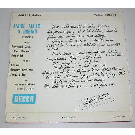 ANDRE AUBERT ANDRE AUBERT A BOBINO