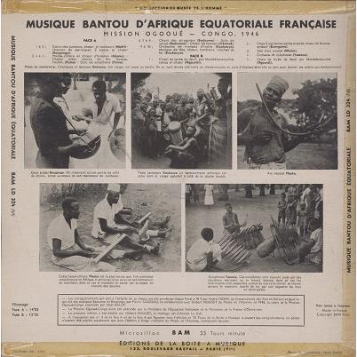 Musique Bantou d'Afrique Equatoriale Mission ogooué-congo