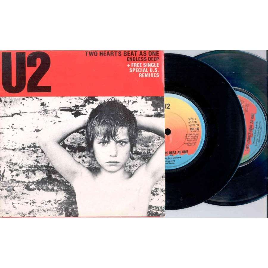 u2 Two Hearts Beat As One (UK 1983 Ltd 4-trk 7 single Double pack full ps)