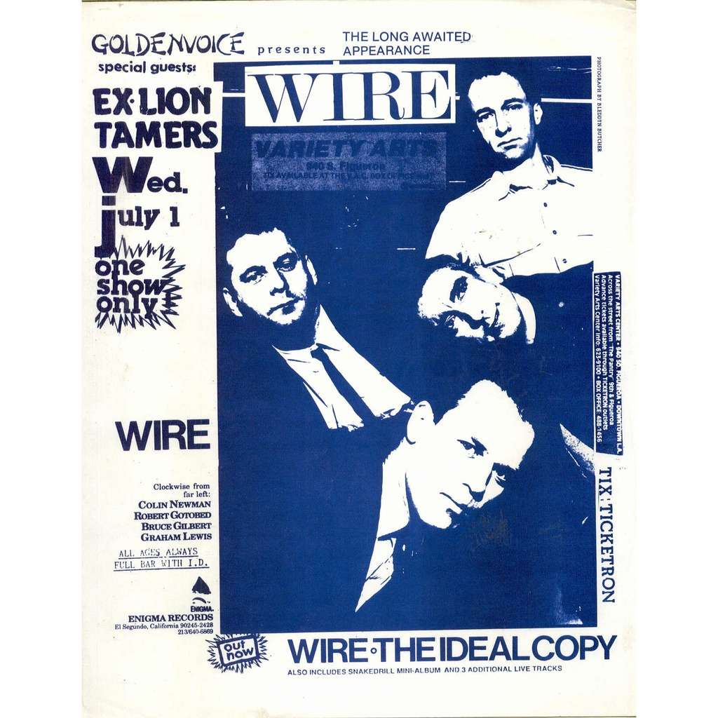 Wire VARIETY ARTS CENTER WED  JULY 1 (USA 80S ORIGINAL PROMO POSTER CONCERT  FLYER)