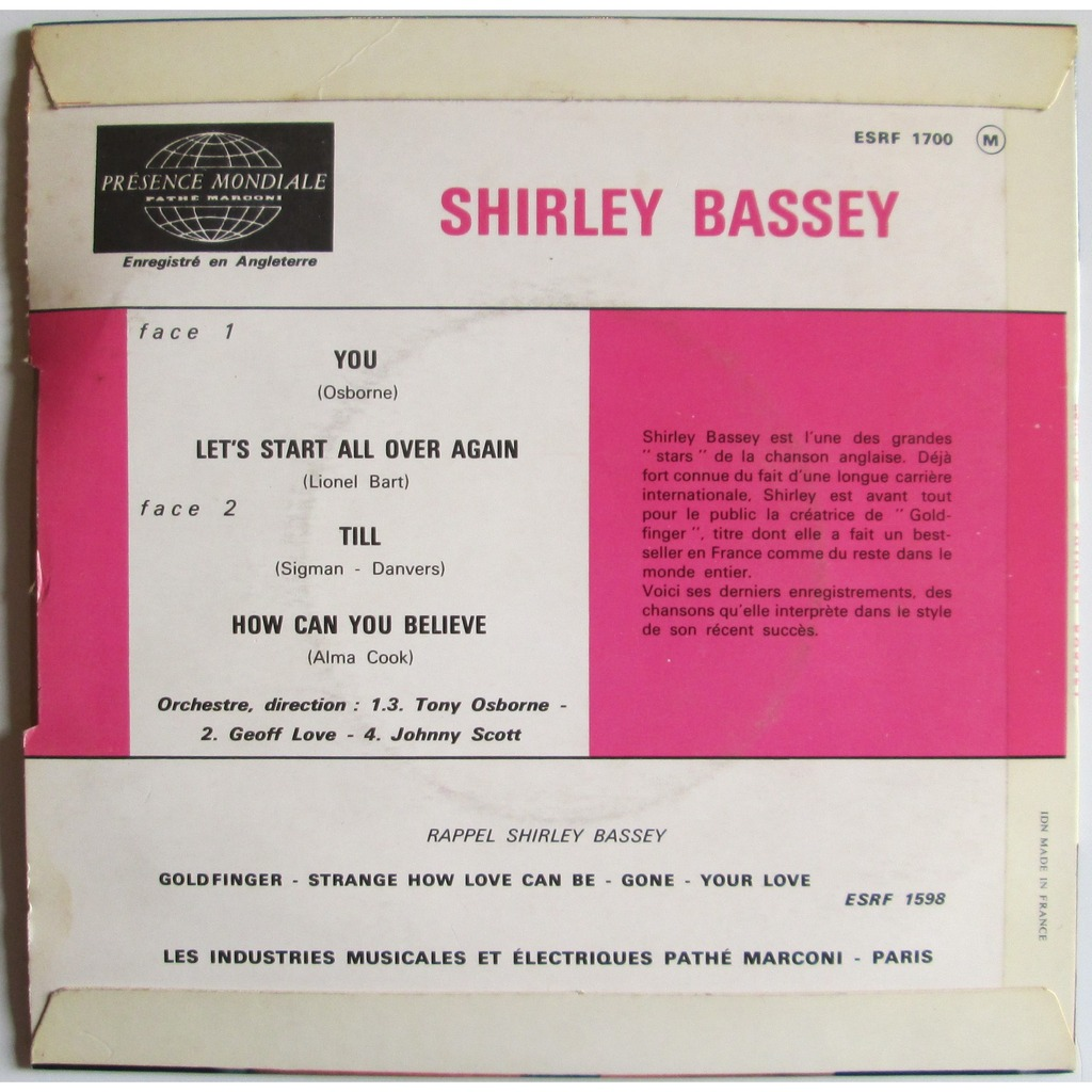 Shirley Bassey You / Let's start all over again / Till / How can you believe
