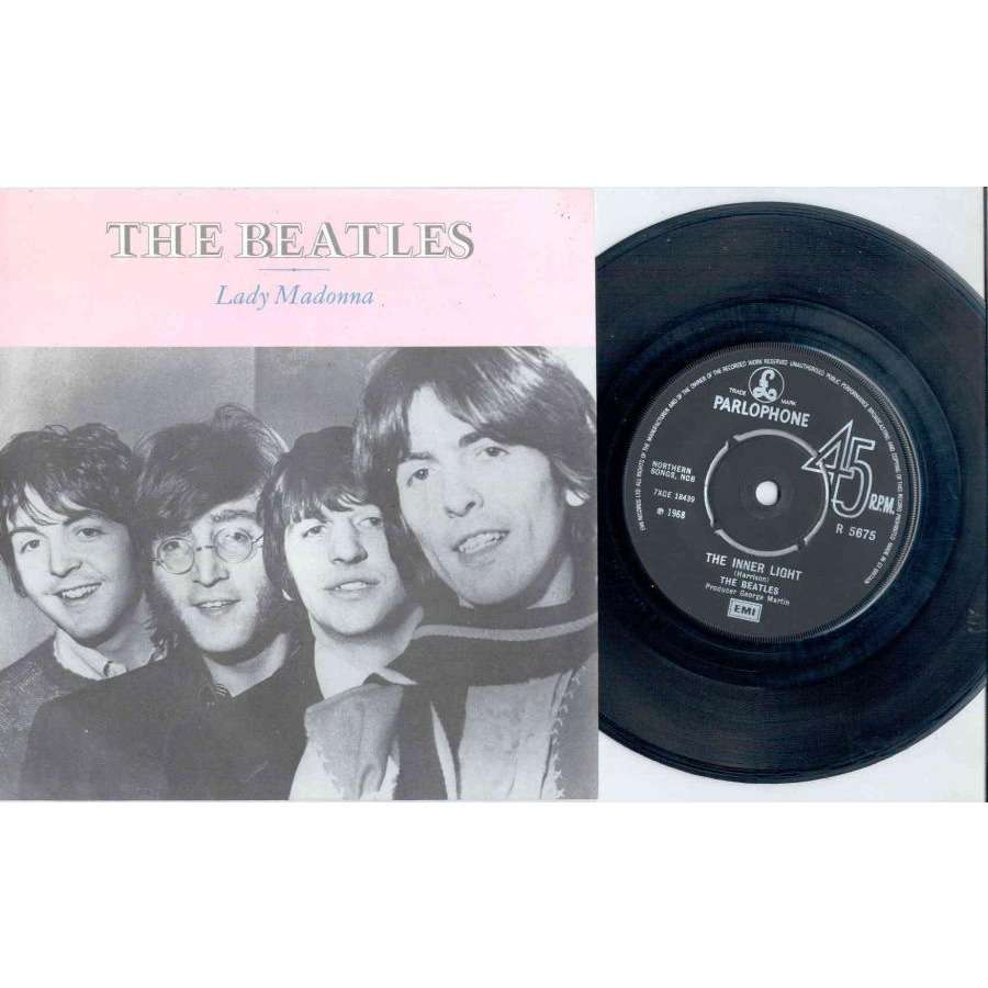 Beatles Lady Madonna (UK 1968 re 2-trk 7 single full great ps)