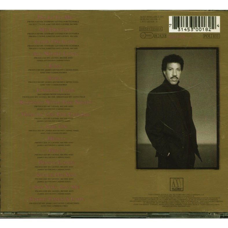 Back To Front By Lionel Richie Cd With Grigo Ref 117121906