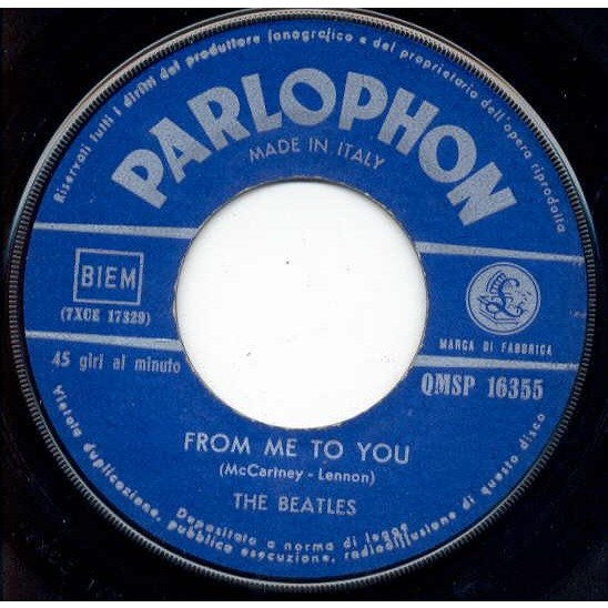 Beatles From Me To You (Italian 1964 2-trk 7 single unique ps)