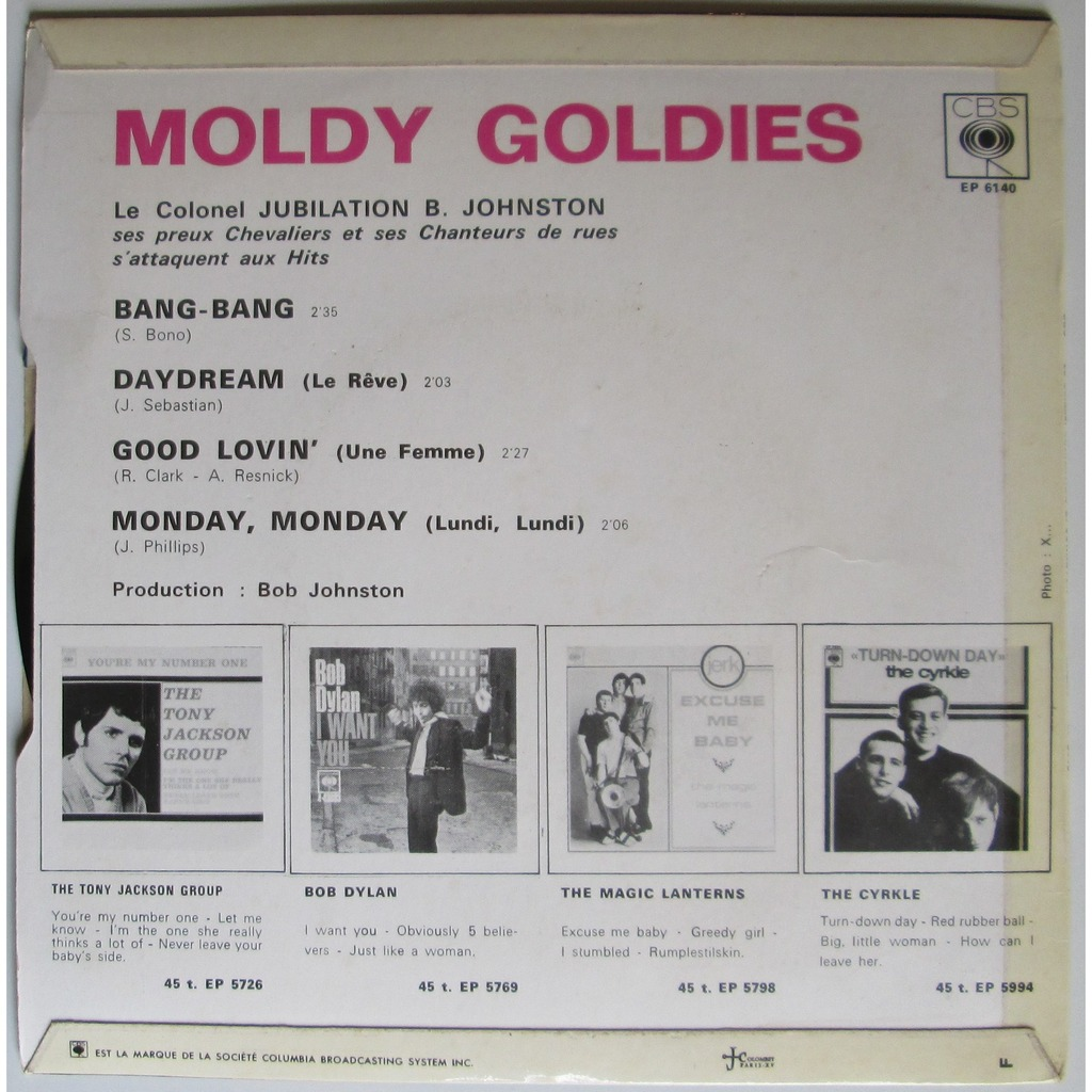 LE COLONEL JUBILATION B.JOHNSTON MOLDY GOLDIES