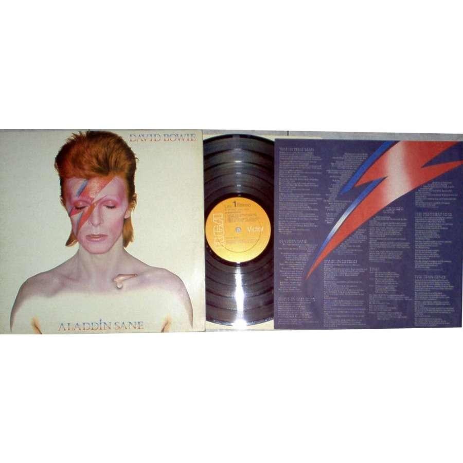 David Bowie Aladdin Sane (Italian 1973 10-trk original LP full gf ps & liric insert)