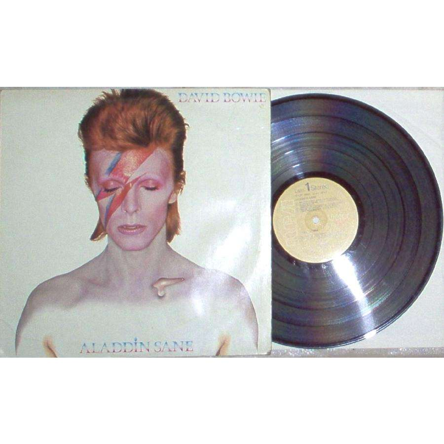 David Bowie Aladdin Sane (Italian mid 70s 2nd issue 10-trk LP on brown RCA lbl unique not gf ps)