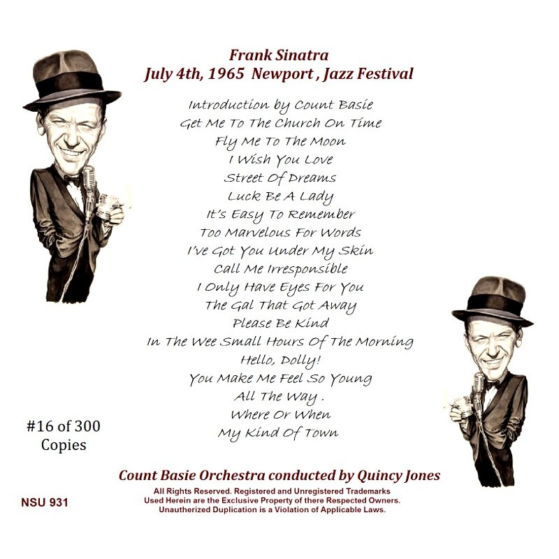 FRANK SINATRA NEWPORT JAZZ FESTIVAL 1965 JULY 4TH CD