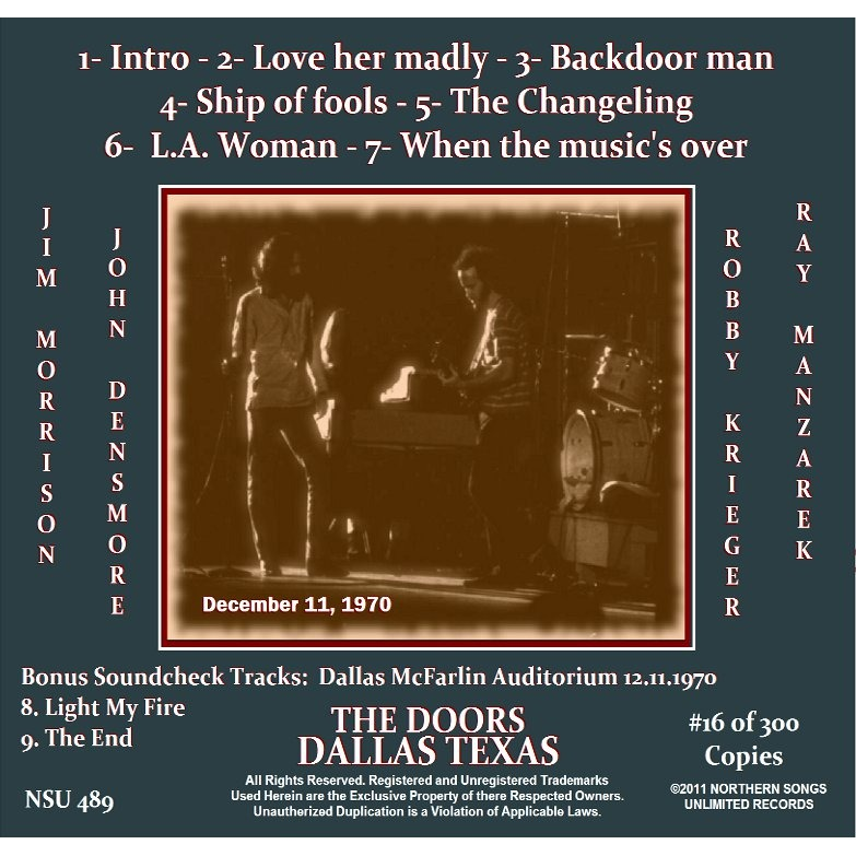 THE DOORS DALLAS TEXAS 1970 DECEMBER 11 LTD # CD