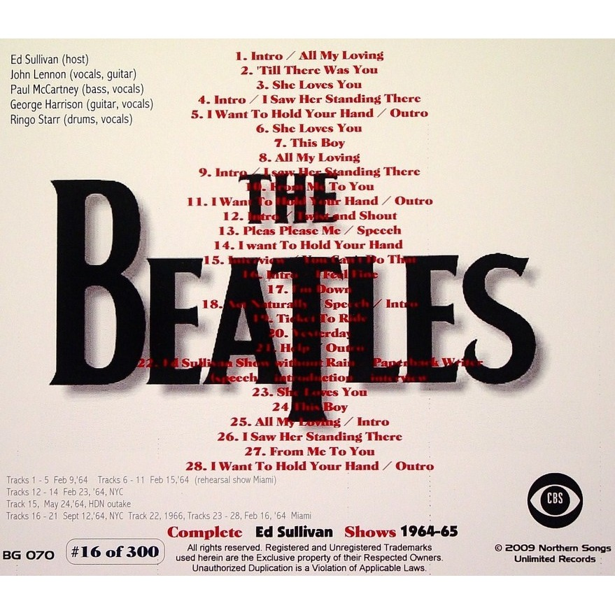 THE BEATLES COMPLETE ED SULLIVAN SHOWS 1964 '65 '66 LTD CD