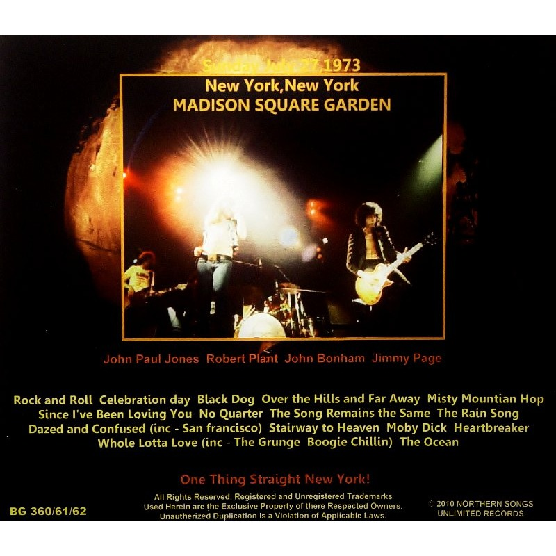 Madison Square Garden 1973 3cd By Led Zeppelin Cd X 3 With Zorro800 Ref 117164810