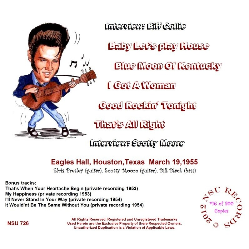 Houston Texas 1955 March 19 Limited Edition Cd By Elvis
