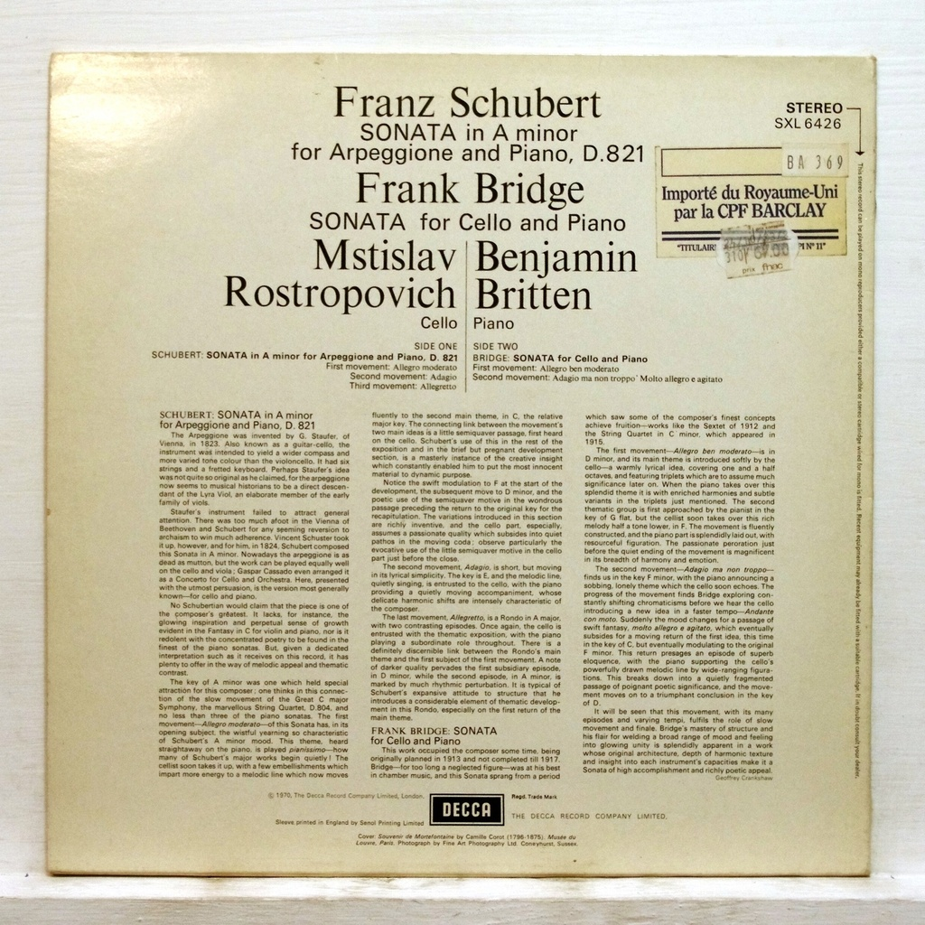 Schubert Bridge Mstislav Rostropovich Benjamin Britten Sonata For Arpeggione And Piano Sonata For Ce