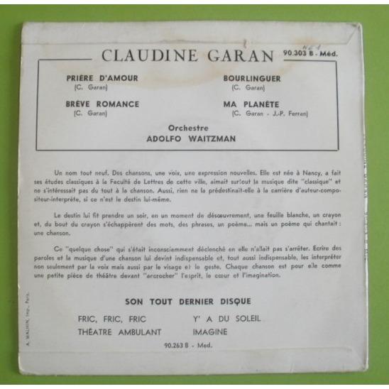 Priere Damour 3 De Claudine Garan Adolfo Waitzman 45 Rpm Ep 4 Títulos Con Leshauts78