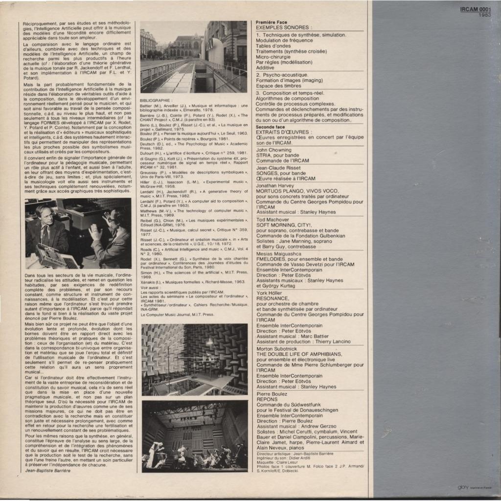 JEAN-BAPTISTE BARRIERE / IRCAM Ircam - Un Portrait ( l'Ensemble Intercontemporain, David Wessel, John Chowning, Jean-Claude Risset,