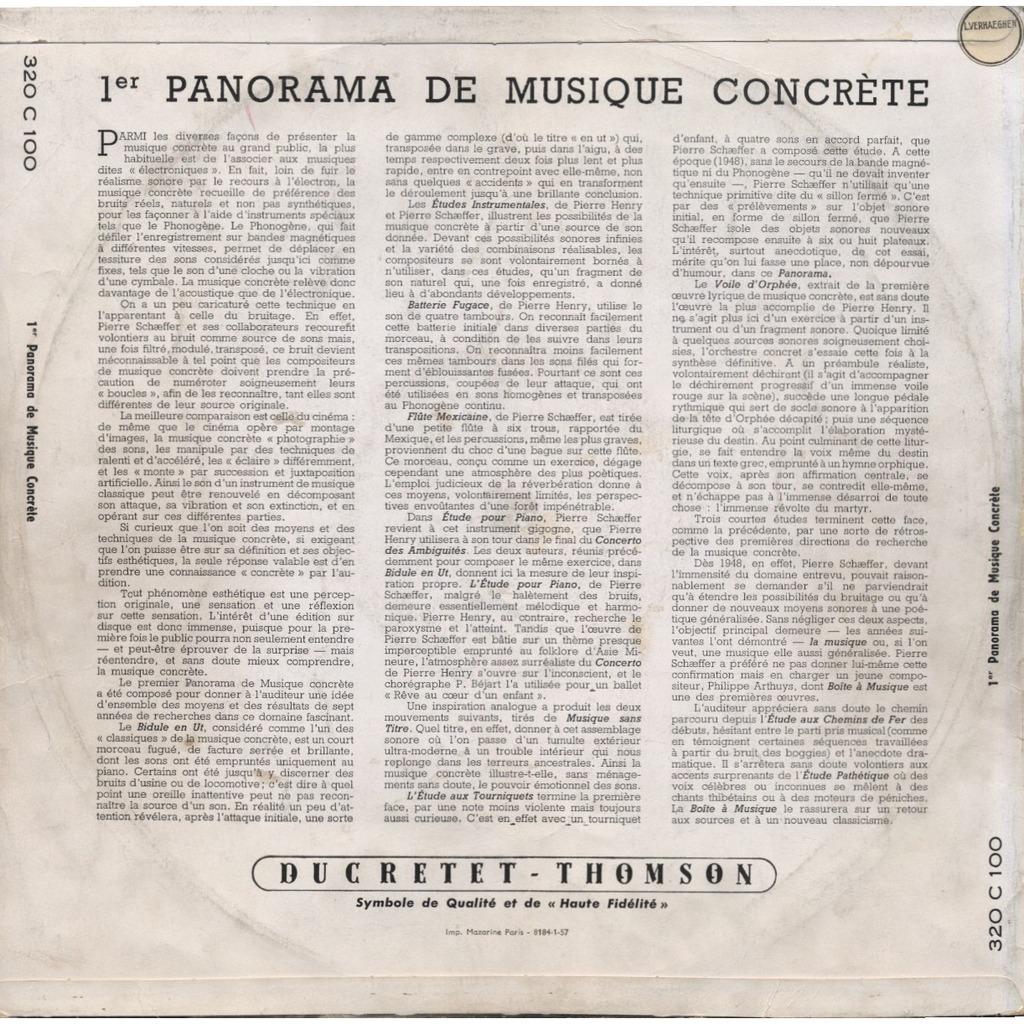 Pierre Henry, Schaeffer, Philippe Arthuys 1er PANORAMA DE MUSIQUE CONCRETE ( ORIGINAL ) + CD-R / Conseil International de la Musique (UNESCO)