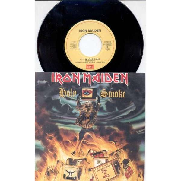 Iron Maiden Holy Smoke (Italian 1990 2-trk 7single full ps)