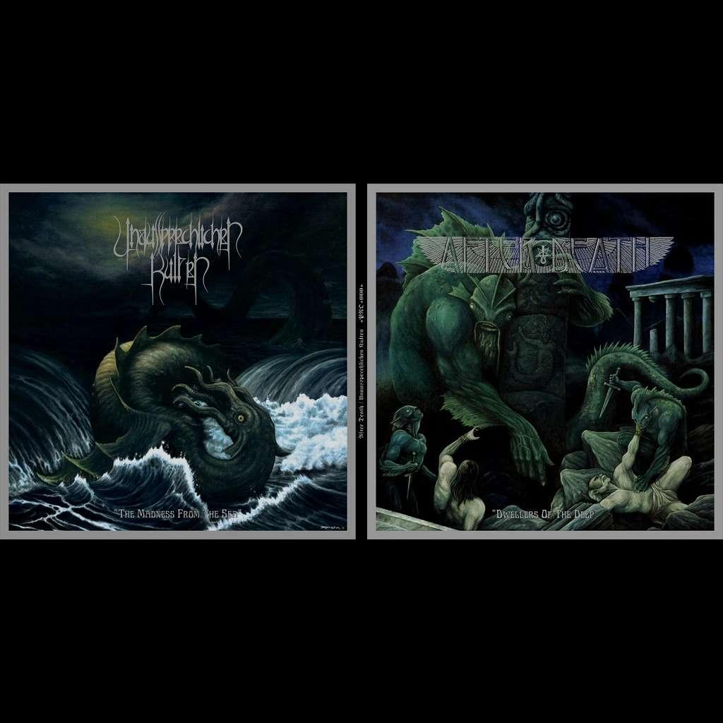 AFTER DEATH / UNAUSSPRECHLICHEN KULTEN Split LP. Green Marble Vinyl