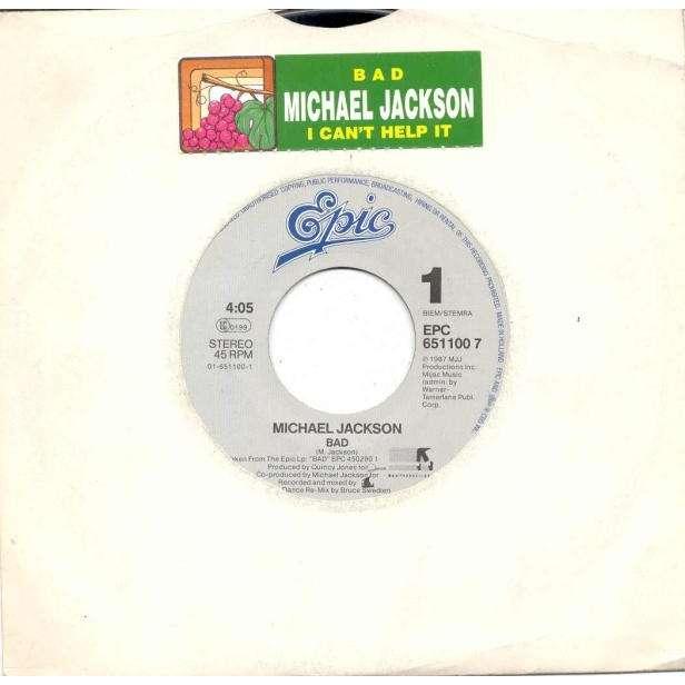 Michael Jackson Bad (Italian 1987 2-trk promo 7single title sticker slv)