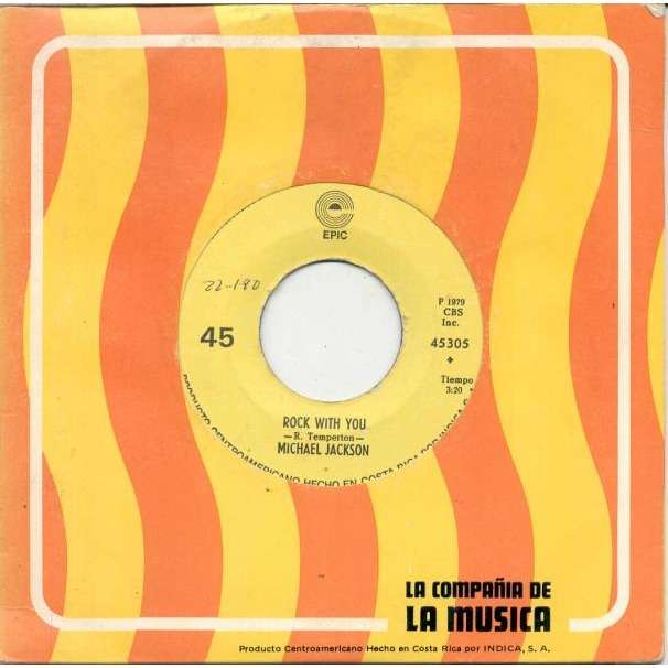 Michael Jackson Rock With You (Costa Rica 1979 2-trk 7single Company slv)