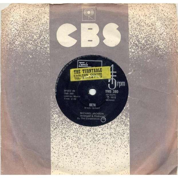 Michael Jackson Ben (South Africa 1972 2-trk 7 single Company slv)