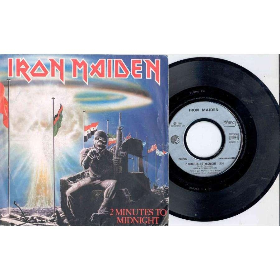 Iron Maiden 2 Minutes to midnight (French 1985 2-trk 7single unique French Tour dates ps)