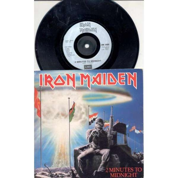 iron maiden 2 Minutes to midnight (UK 1985 2-trk 7single silver lbl full ps)