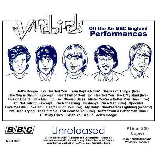 THE YARDBIRDS UNRELEASED BBC PERFORMANCES LIMITED CD