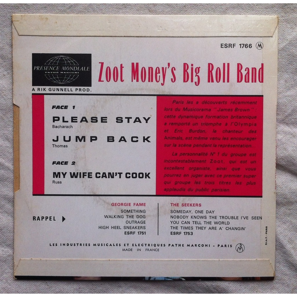 zoot money's big roll band please stay / jump back / mi wife can't cook