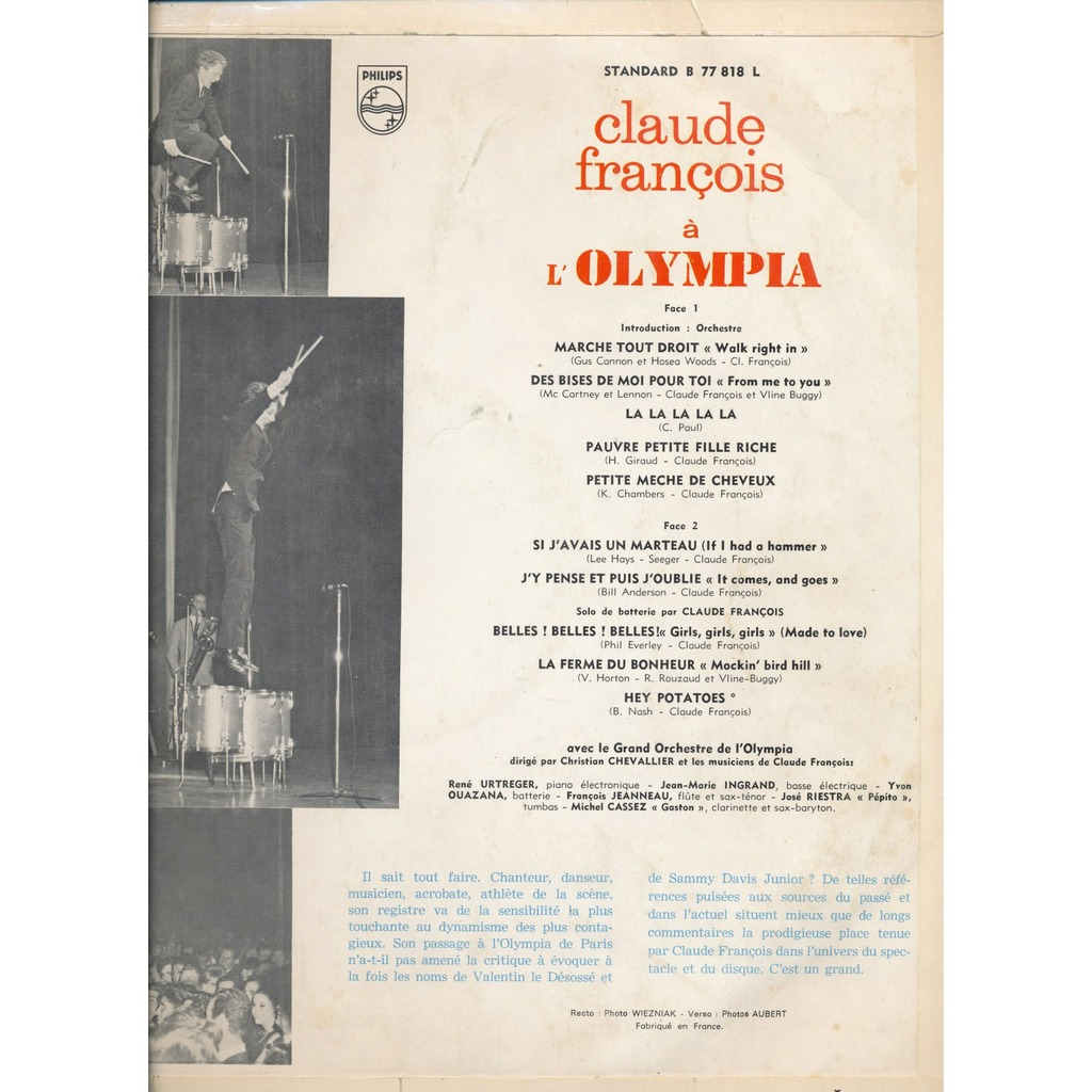 CLAUDE FRANCOIS à l'Olympia