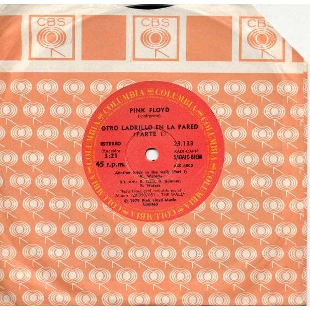 Pink Floyd Otro Ladrillo En La Pared (Argentina 1979 2-trk 7single on Columbia lbl CBS slv)