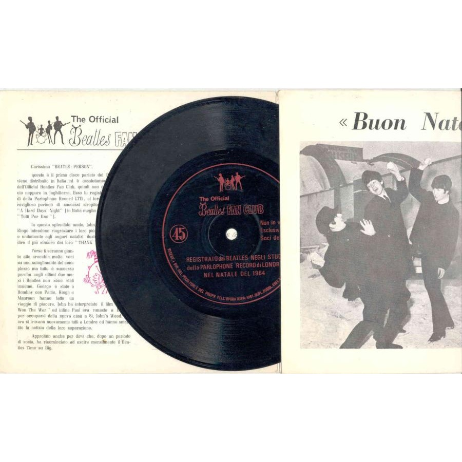 Beatles A Happy Crimble And A Very New Year (Italian 1964 Fan-Club promo 7 Flexy absolutely unique gf ps)