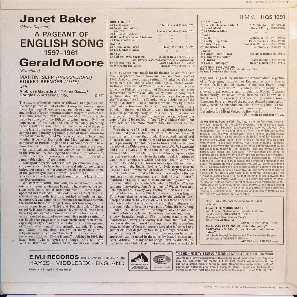 JANET BAKER & GERALD MOORE A PAGEANT OF ENGLISH SONG 1597 - 1961 /J.DOWLAND / T.CAMPIAN / H.PURCELL/V.WILLIAMS/ B.BRITTEN...