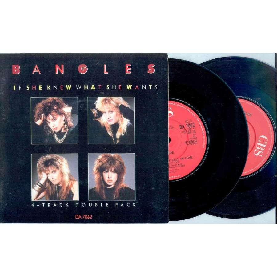 Bangles If She Knews What She Wants (UK 1986 Ltd 4-trk 7Single Double Pack unique gatefold ps)