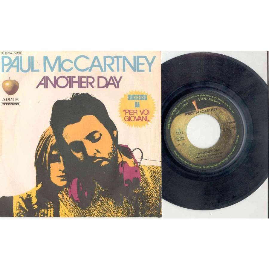 Beatles / Paul McCartney Another Day (Italian 1971 2-trk 7 single full unique ps)