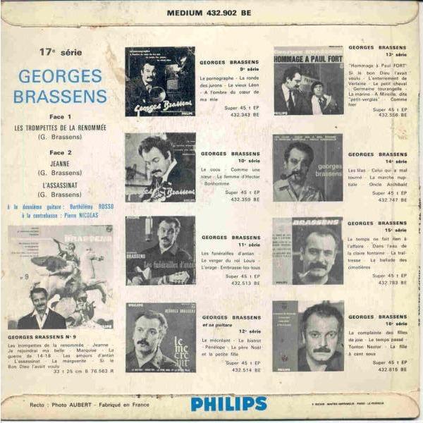 George Brassens Les Trompettes De La Renommee (Italian 60s 3-trk 7ep laminated ps)
