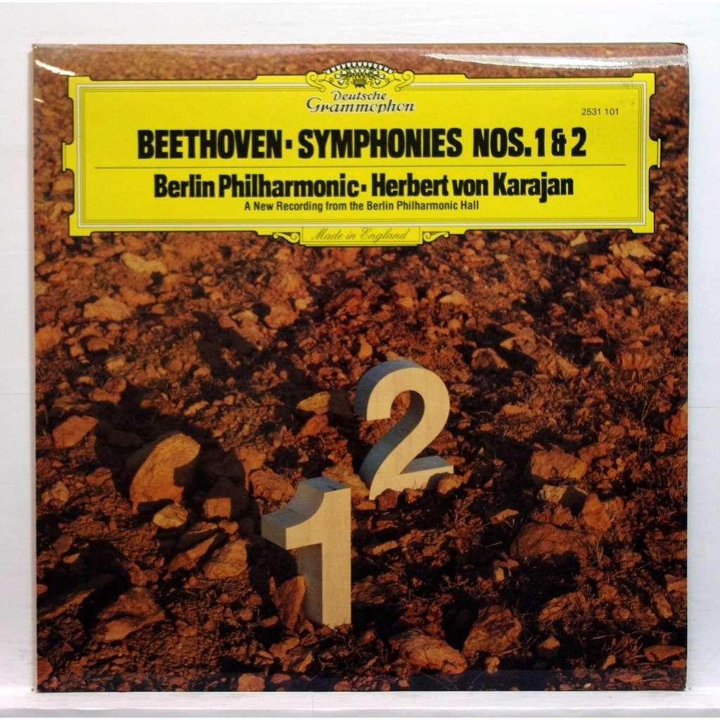 Herbvert Von Karajan Beethoven : Symphony no 1 in C major op 21 / Symphony  no 2 in D major op 36