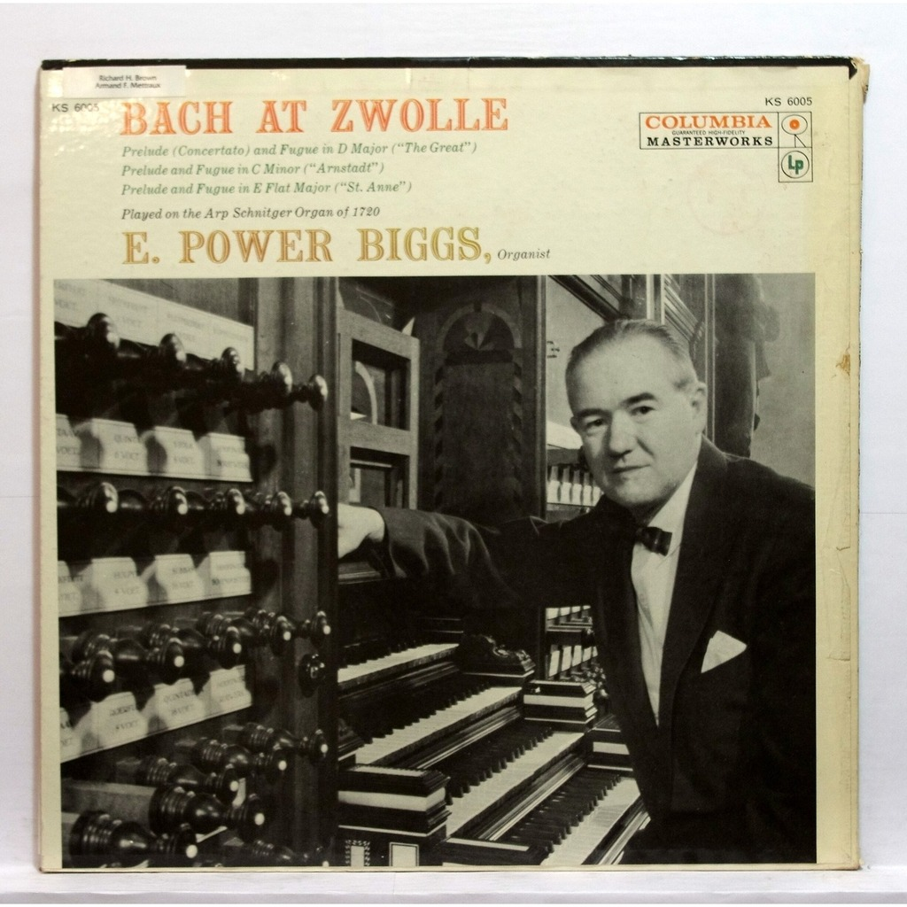 Bach at zwolle by E  Power Biggs, LP with elyseeclassic
