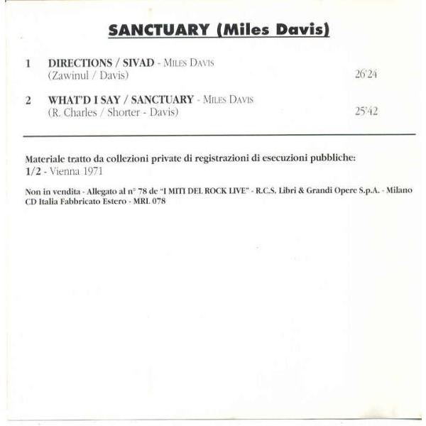 Miles Davis Sanctuary (Vienna 1971) (Italian 1994 'Il Rock' promo live CD ps)