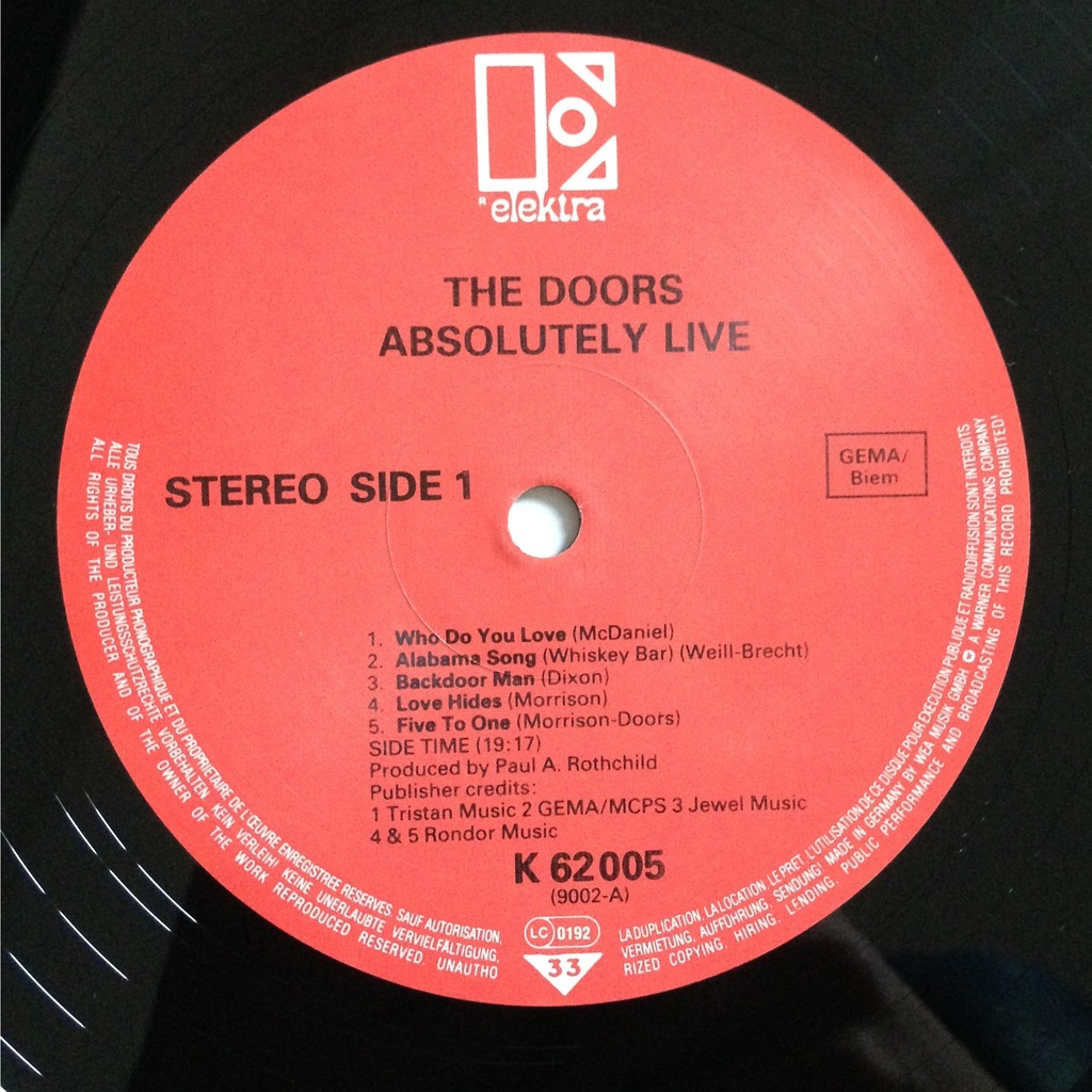 ... The Doors Absolutely Live ... & Absolutely live by The Doors LP x 2 with labelledoccasion - Ref ...