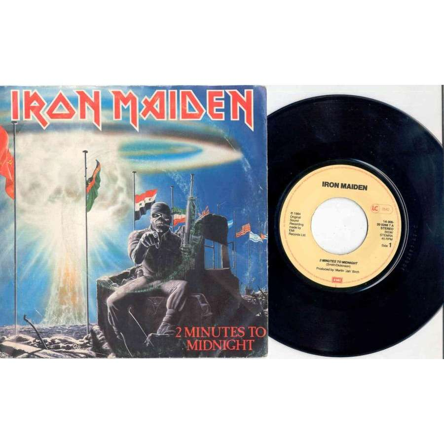 IRON MAIDEN 2 Minutes to midnight (Holland 1985 2-trk 7single full ps)